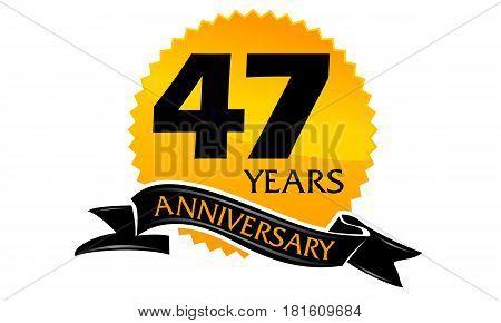 47 Years Ribbon Anniversary Congratulation Celebration Ceremony