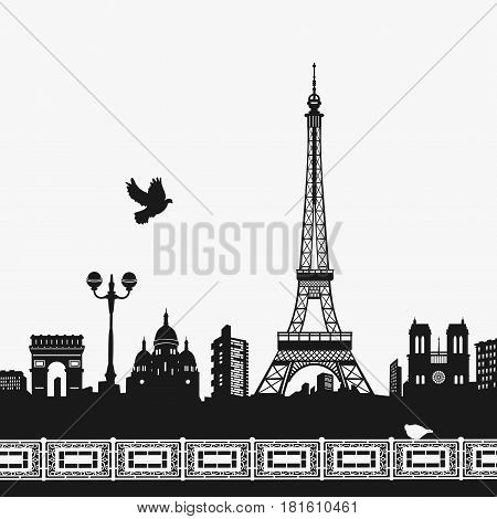 Vector Silhouette of the Eiffel Tower eps 8 file format