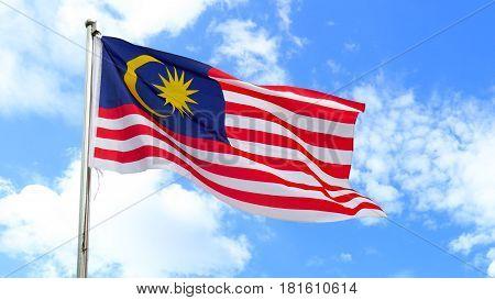 Malaysian National Flag On A Pole Against Bright Blue Sky. Malaysian's Flag Concept.