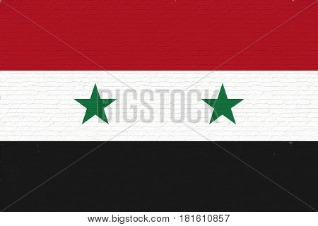 Illustration of the flag of Syria looking like it is painted on a wall.