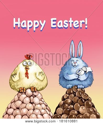 happy easter eggs a chiccken and a bunny