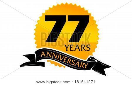 77 Years Ribbon Anniversary Congratulation Ceremony Modern
