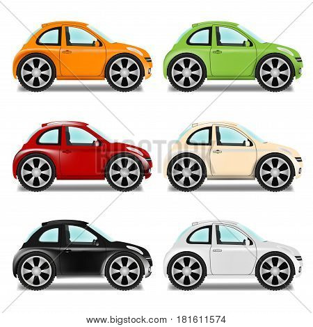 Mini car with big wheels six colors on a white background