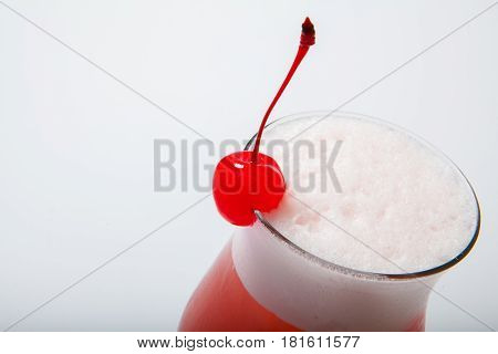 Colourful Coctail With Cherry On The Black Background