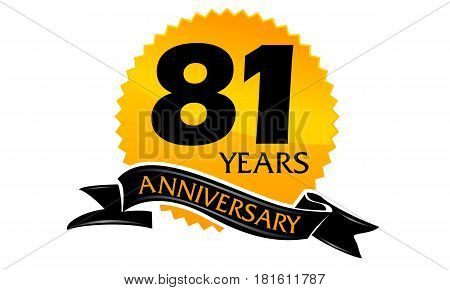 81 Years Ribbon Anniversary Congratulation Ceremony Modern