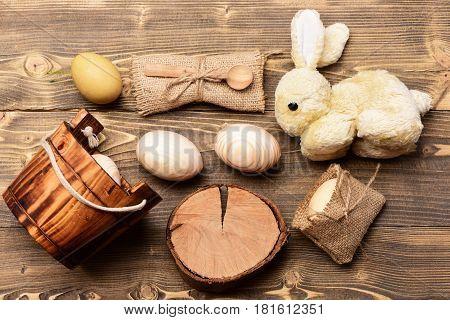 Easter Beige Wood Eggs In Wooden Bucket, Rabbit, Tree Stump