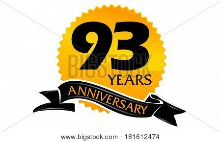 93 Years Ribbon Anniversary Congratulation Ceremony Modern