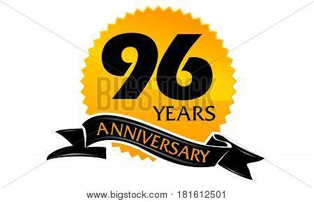 96 Years Ribbon Anniversary Congratulation Ceremony Modern