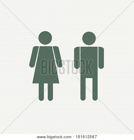 Vector man and woman icons. Toilet sign restroom icon. Minimal style pictogram