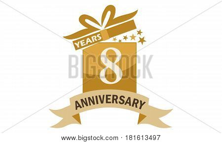 8 Years Gift Box Ribbon Anniversary Congratulation