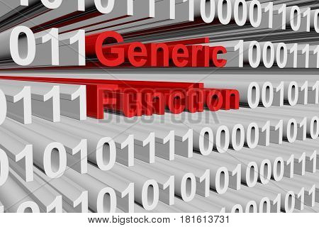 Generic function in the form of binary code, 3D illustration