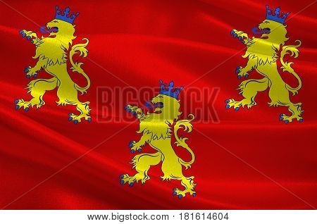 Flag of Dordogne is a department in southwestern France with its prefecture in Perigueux. The department is located in the region of Nouvelle-Aquitaine. 3d illustration