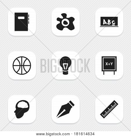 Set Of 9 Editable University Icons. Includes Symbols Such As Basket Play, Cerebrum, Straightedge And More. Can Be Used For Web, Mobile, UI And Infographic Design.