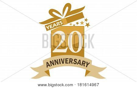 20 Years Gift Box Ribbon Anniversary Congratulation