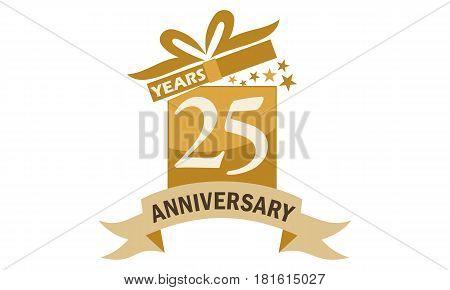 25 Years Gift Box Ribbon Anniversary Congratulation