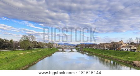 The Arno River flowing through Florence nature