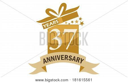 37 Years Gift Box Ribbon Anniversary  Congratulations