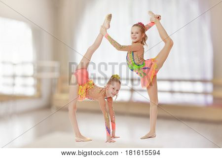 Two adorable little twin girls, gymnastics in the sports school. Girls beautiful gymnastic leotards. They do the splits.In the sports hall with mirror and a large semi-circular window.