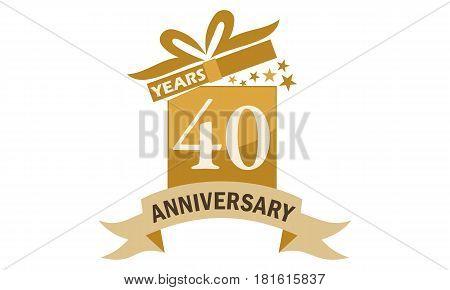 40 Years Gift Box Ribbon Anniversary  Congratulations