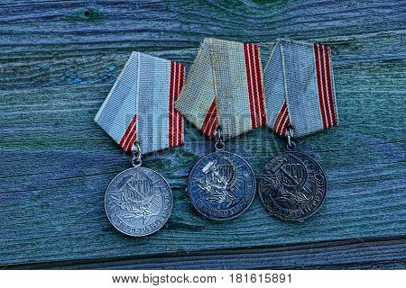 A set of old Soviet medals for conscientious work