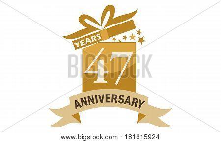 47 Years Gift Box Ribbon Anniversary Congratulation