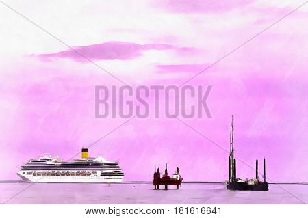 Colorful painting seascape with cruise ship in the Mediterranian sea, Venice, Veneto, Itlaly
