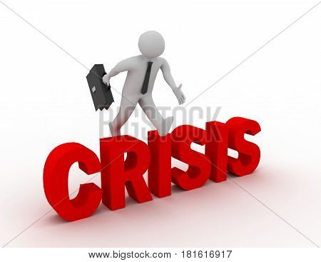 3d businessman jumping over 'crisis' word with white background . rendered illustration