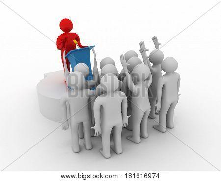 Leader speaking to audience. 3d leader concept . rendered illustration