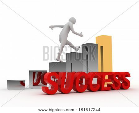 Success 3D Concept with Bar Chart Graph .  rendered illustration
