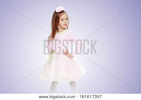 Dressy little girl long blonde hair, beautiful pink dress and a rose in her hair.She keeps hands on hips.Purple gradient background.