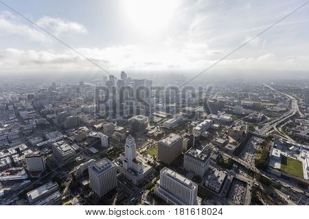 Aerial view of afternoon clouds over downtown Los Angeles in Southern California.