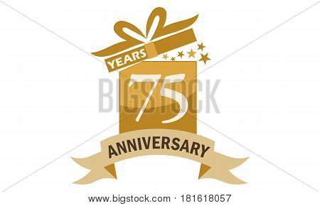 75 Years Gift Box Ribbon Anniversary Congratulation
