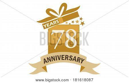 78 Years Gift Box Ribbon Anniversary Congratulation