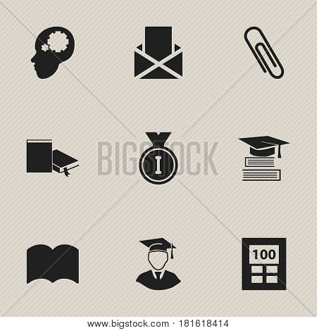 Set Of 9 Editable Graduation Icons. Includes Symbols Such As Staple, Education, Creative Idea And More. Can Be Used For Web, Mobile, UI And Infographic Design.