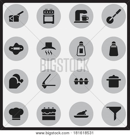 Set Of 16 Editable Cook Icons. Includes Symbols Such As Filtering, Egg Carton, Cookware And More. Can Be Used For Web, Mobile, UI And Infographic Design.