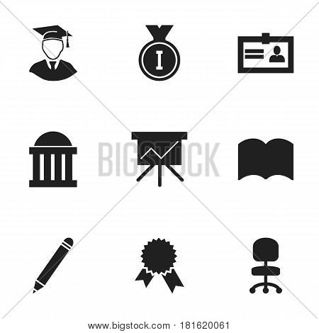 Set Of 9 Editable Science Icons. Includes Symbols Such As Chart Board, Courtroom, First Place And More. Can Be Used For Web, Mobile, UI And Infographic Design.