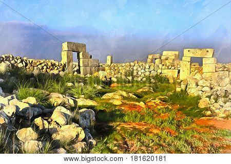 Colorful painting of ancient Byzantine town Serjilla, Syria