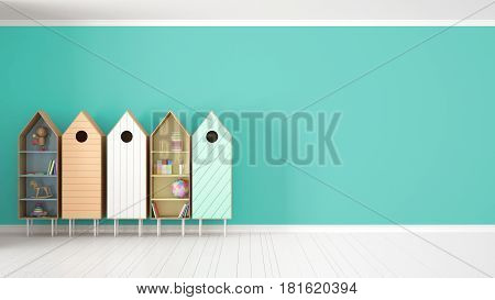 Scandinavian minimalist turquoise background with colorful bookshelf on white parquet flooring child kids room interior design, 3d illustration