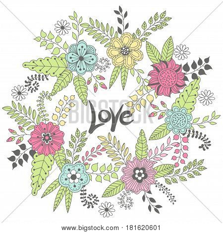 Wreath vector illustration made of flowers and herbs. Vector decorative circle frame. Spring elements. Floral doodles wreath. Invitation or greeting card design.