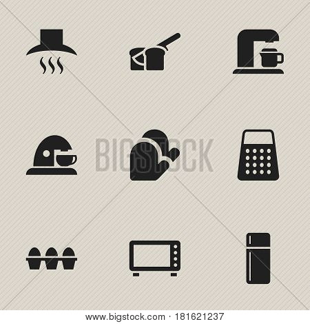 Set Of 9 Editable Food Icons. Includes Symbols Such As Kitchen Glove, Oven, Kitchen Hood And More. Can Be Used For Web, Mobile, UI And Infographic Design.