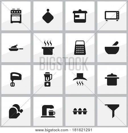 Set Of 16 Editable Food Icons. Includes Symbols Such As Shredder, Cookware, Soup Pot And More. Can Be Used For Web, Mobile, UI And Infographic Design.