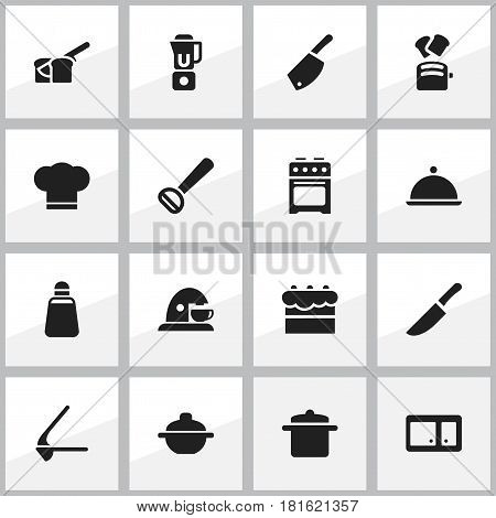 Set Of 16 Editable Food Icons. Includes Symbols Such As Backsword , Knife, Hand Mixer. Can Be Used For Web, Mobile, UI And Infographic Design.