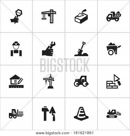 Set Of 16 Editable Construction Icons. Includes Symbols Such As Oar, Employee, Notice Object And More. Can Be Used For Web, Mobile, UI And Infographic Design.