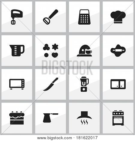 Set Of 16 Editable Meal Icons. Includes Symbols Such As Sideboard, Sword, Coffee Pot And More. Can Be Used For Web, Mobile, UI And Infographic Design.