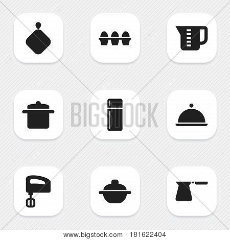 Set Of 9 Editable Cook Icons. Includes Symbols Such As Salver, Agitator, Mensural And More. Can Be Used For Web, Mobile, UI And Infographic Design.