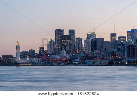 Montreal CA - 13 April 2017: Montreal Skyline at sunset as seen from Parc Jean Drapeau