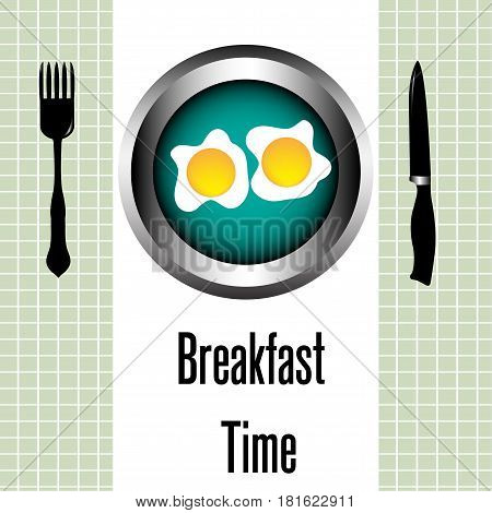 Meal concept with fork, knife and two eggs on a plate for breakfast