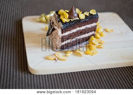 Sweet chocolate cake topped with corn flake