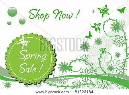 Colorful background with various plants and flowers and the text spring sale written on a rounded element