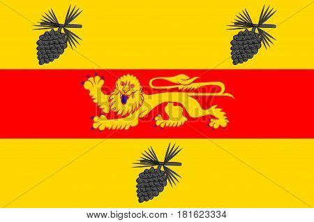 Flag of Landes is a department in southwestern France. Vector illustration